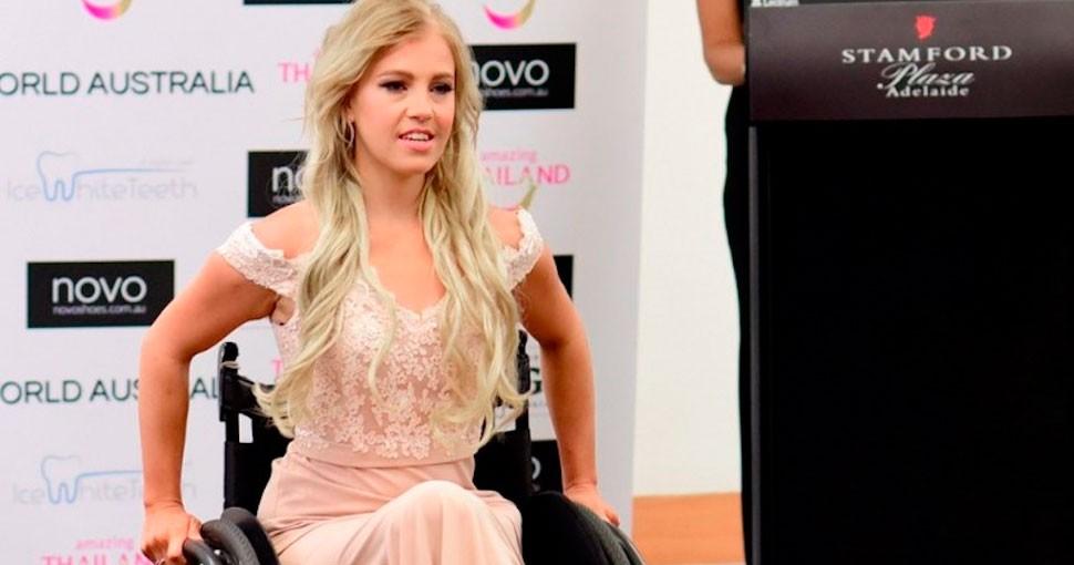 Justin Clark, la primera candidata a Miss Mundo en silla de ruedas, gracias al deporte