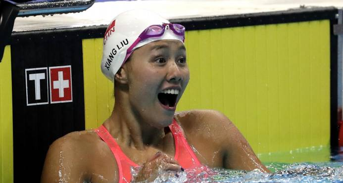 Nadadora Liu Xiang rompe récord de 50 metros de espalda