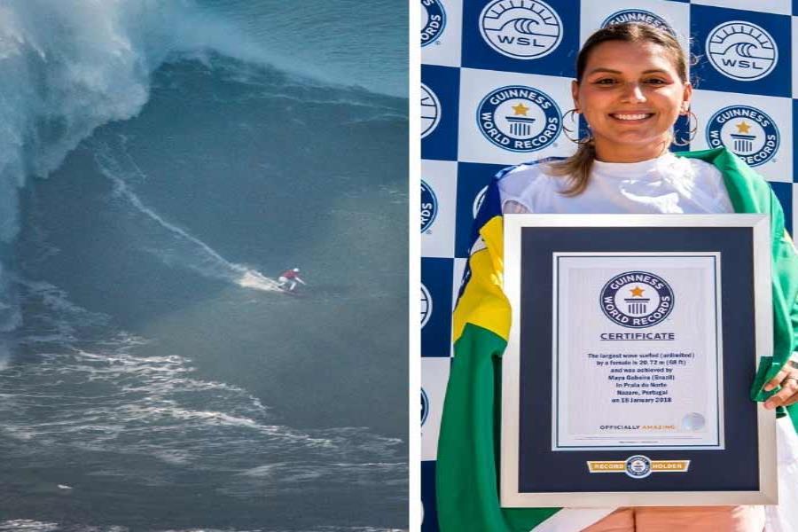 Surfista brasileña logra récord Guinness en la playa donde casi pierde la vida